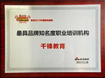 年度最具品牌知名度职业培训机